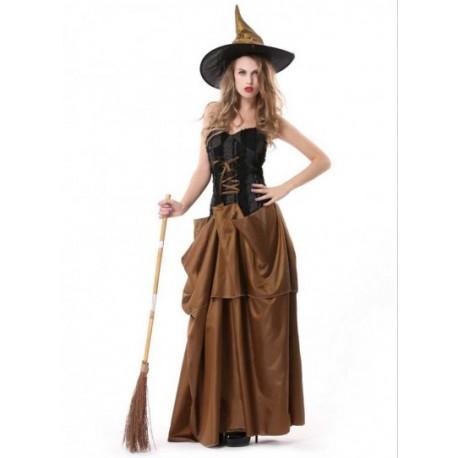 Fantasia de Bruxa vestido preto e marrom