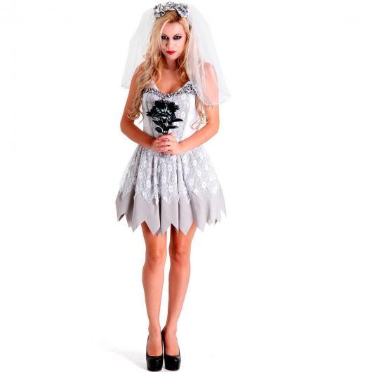 Fantasia Noiva Cadáver com vestido branco e detalhes em prata