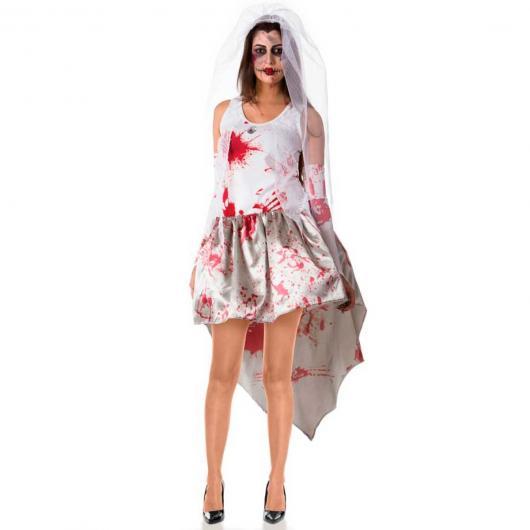 Fantasia Noiva Cadáver com vestido sujo de sangue