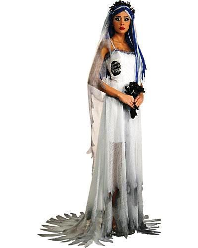 Fantasia Noiva Cadáver com vestido rasgado como se tivesse sido queimado