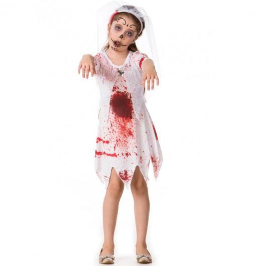Fantasia de Zumbi para criança com vestido branco manchado de sangue