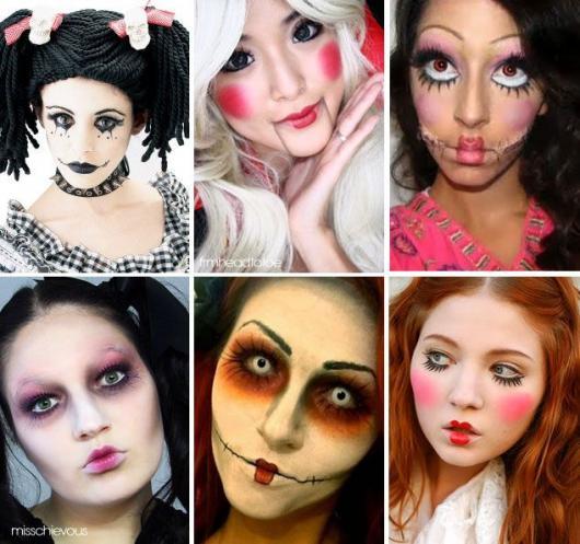 Fantasia de Boneca assassina com maquiagens