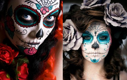 Fantasia de Caveira Mexicana com maquiagem típica