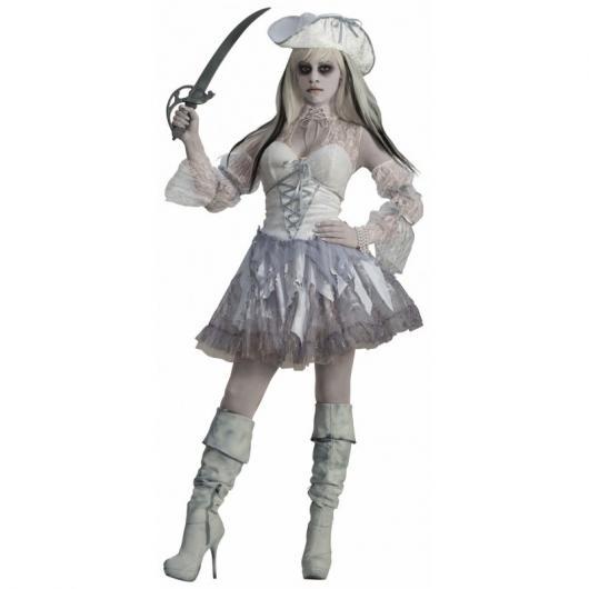 Fantasia de Halloween feminina de pirata vestido branco
