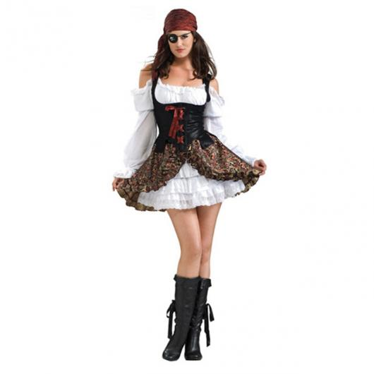 Fantasia de Halloween feminina de pirata