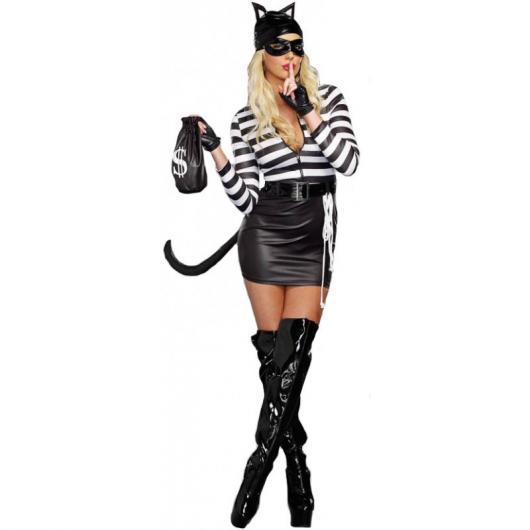 Fantasia de Halloween feminina de Mulher Gato com bota preta de cano alto