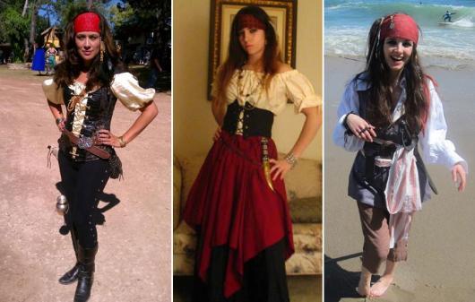 Fantasia de Halloween feminina Simples de pirata