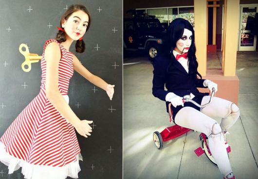 Fantasia de Halloween feminina criativas boneca de corda e Jogos Mortais