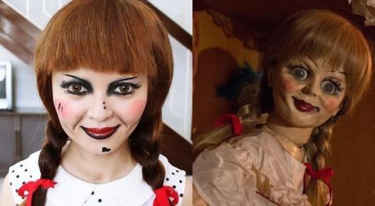 Fantasia de Halloween feminina criativa boneca Anabelle