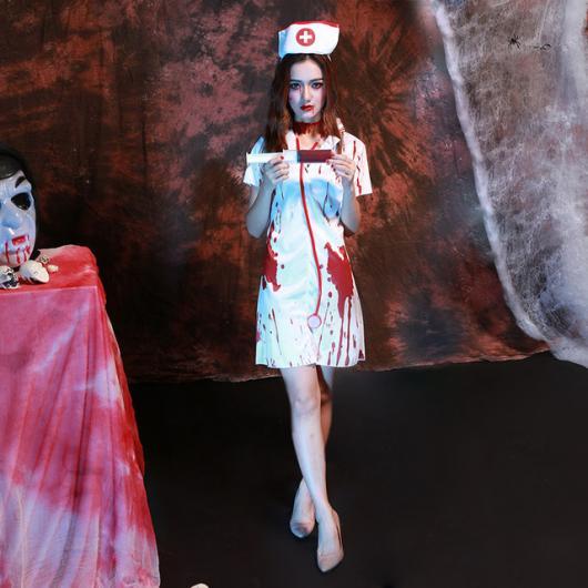 Fantasia de Halloween feminina assustadora de enfermeira ensanguentada