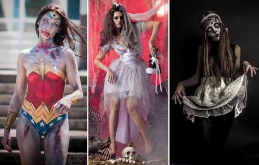 Fantasia de Halloween feminina assustadora de personagens ensanguentadas