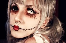 Fantasia de Halloween feminina assustadora maquiagem com olho branco