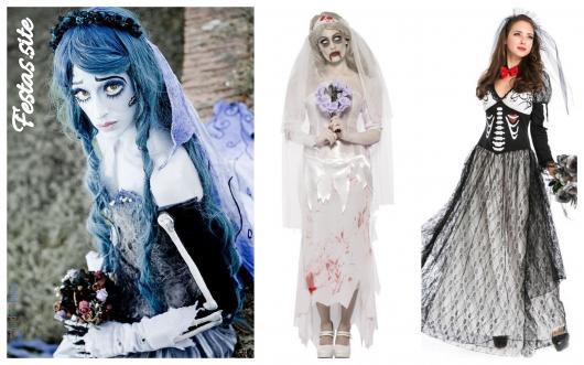 Vestidos diferentes para compor a fantasia de noiva cadáver