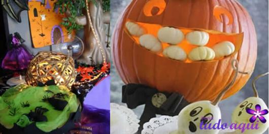 Festa de Halloween decoração com abóbora