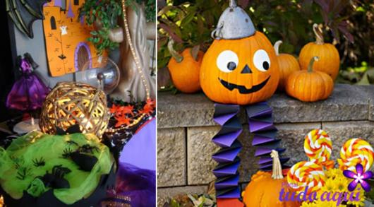 Festa de Halloween decoração com abóbora decorada