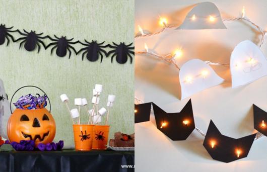 Festa de Halloween decoração com apliques de aranha na parede