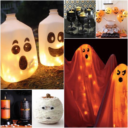 Festa de Halloween decoração com garrafas recicladas