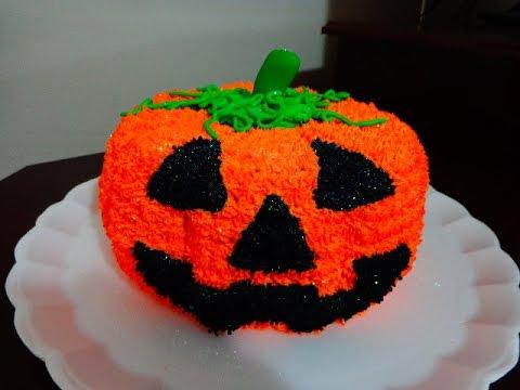 Festa de Halloween bolo com formato de abóbora