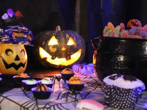 Festa de Halloween decoração com abóbora iluminada