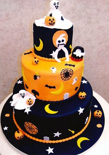 Festa de Halloween bolo decorado com pasta americana preta e laranja
