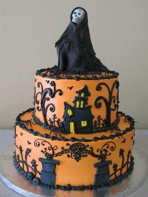 Festa de Halloween bolo laranja com apliques pretos