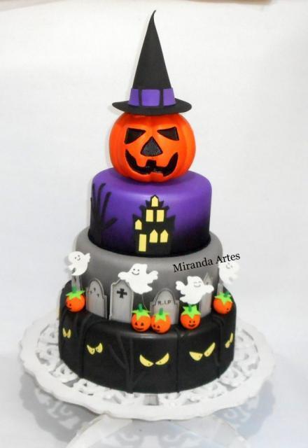 Festa de Halloween bolo com topo de abóbora