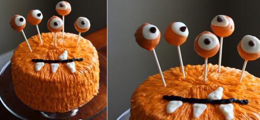 Festa de Halloween bolo com chantilly e olhos de pasta americana