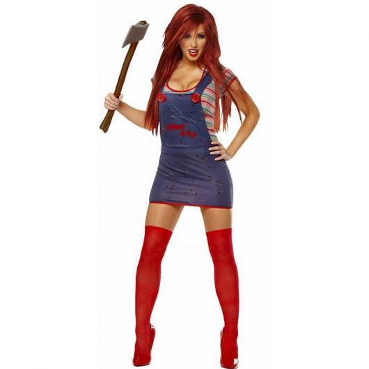Festa de Halloween fantasia feminina Chuck