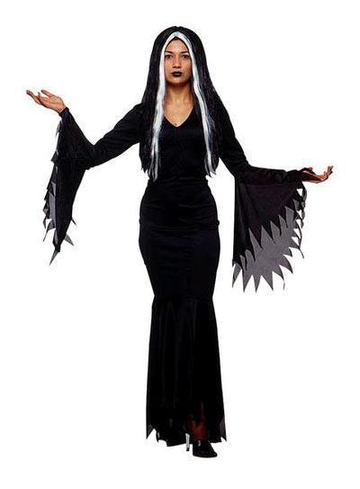 Festa de Halloween fantasia feminina Morticia