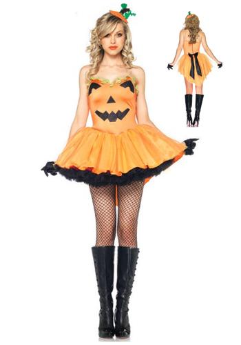 Festa de Halloween fantasia feminina vestido de abóbora