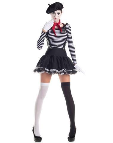 Festa de Halloween fantasia feminina preta e branca