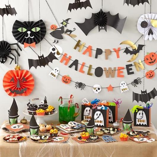 Festa de Halloween decoração com morcego de papel