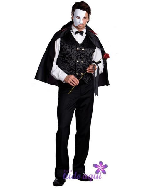 Festa de Halloween fantasia masculina Fantasma da Ópera