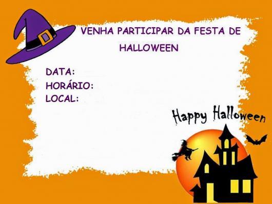 Festa de Halloween convite cartão laranja e branco