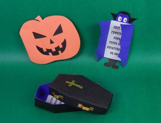 Festa de Halloween convite com formato de abóbora