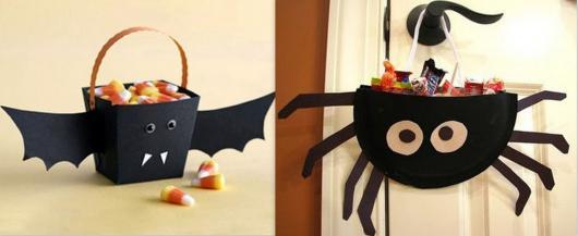 Festa de Halloween lembrancinha porta doces com formato de aranha