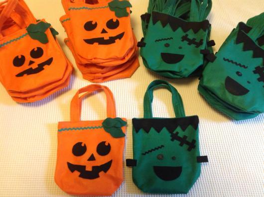 Festa de Halloween lembrancinha sacola surpresa com estampa de abóbora