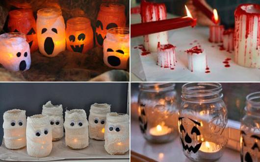 Festa de Halloween decoração com potes personalizados