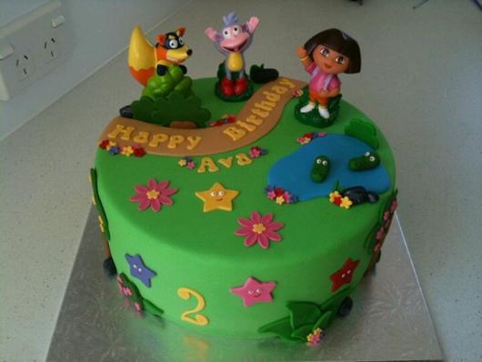 decoração de bolo festa dora aventureira