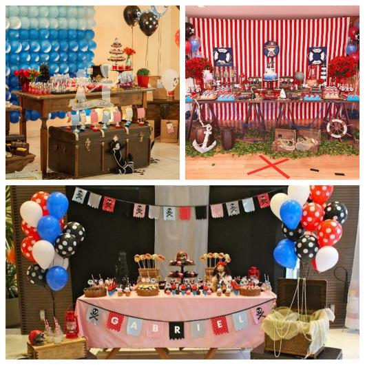Vermelho, azul, marrom, preto e branco são as cores mais usuais em uma decoração de festa pirata