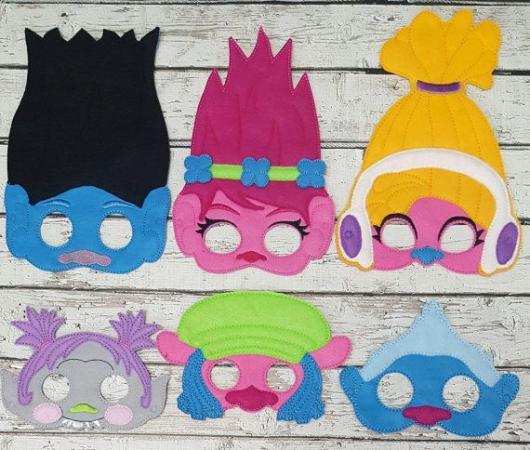 Máscaras dos personagens do Trolls