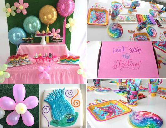 Diversas ideias para decoração da festa com tema Trolls
