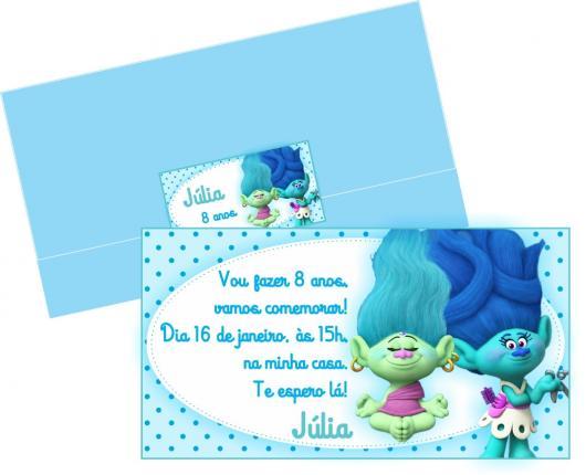 Ideia de convite azul para festa do Trolls