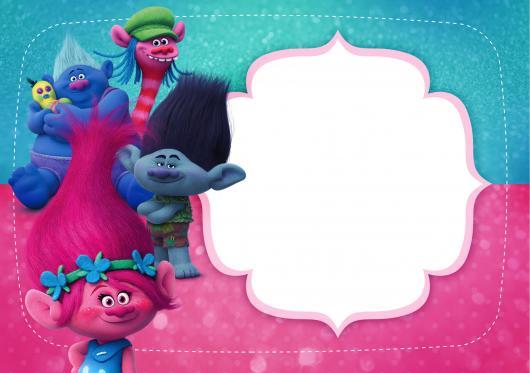 Modelo de convite trolls para imprimir colorido