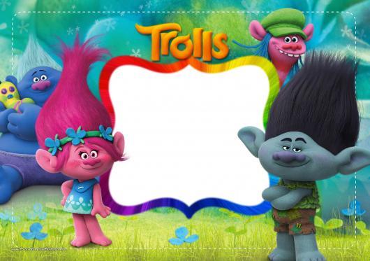 Modelo de convite trolls para imprimir personagem