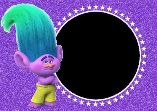 Modelo de convite trolls para imprimir roxo