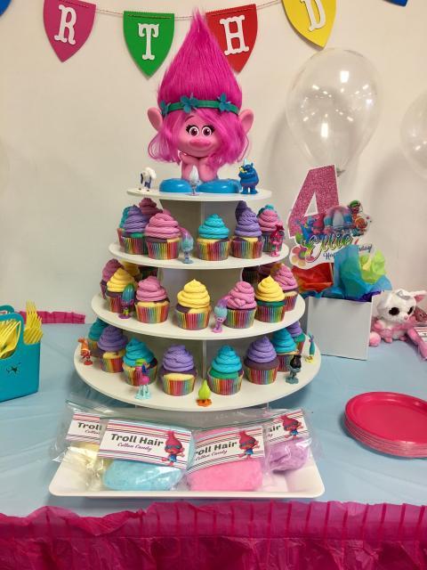 Ideias para você decorar os cupcakes da festa trolls