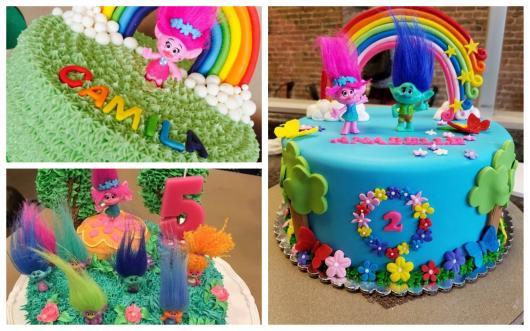 O bolo Trolls pode ser decorado com glacê ou pasta americana