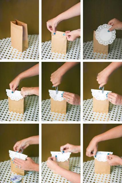 Passo a passo da sacolinha de papel com renda
