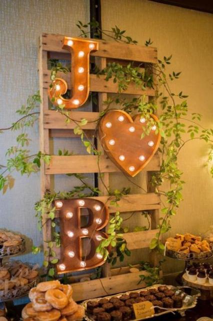 painel de pallet com plantas e letreiros